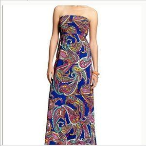 Banana Republic Paisley Strapless Maxi Dress
